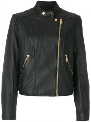Кожаная байкерская куртка Michael Kors. Цвет: чёрный