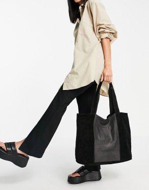 Большая черная сумка-тоут из кожи и замши -Черный цвет Topshop