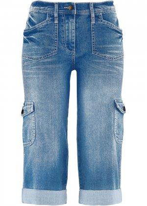 Карго-джинсы-стретч капри bonprix. Цвет: синий