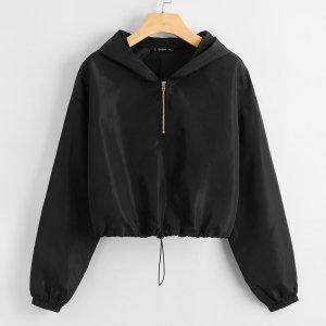 Куртка ветровка размера плюс на кулиске с молнией SHEIN. Цвет: чёрный