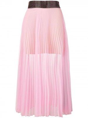 Плиссированная юбка с декорированным поясом Christopher Kane. Цвет: розовый