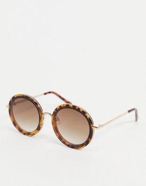 Женские черепаховые солнцезащитные очки круглой формы -Коричневый цвет Jeepers Peepers
