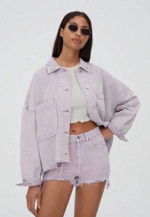 Куртка джинсовая Pull&Bear. Цвет: фиолетовый