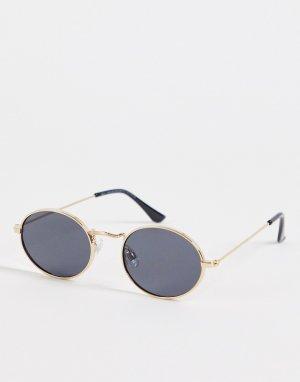 Тонкие овальные солнцезащитные очки золотистого цвета -Золотистый New Look