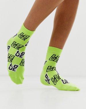Носки до щиколотки с надписью love -Зеленый ASOS DESIGN