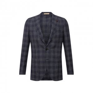 Пиджак из шелка и шерсти Sartoria Latorre. Цвет: синий