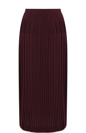 Плиссированная юбка-миди из шерсти Loro Piana. Цвет: бордовый