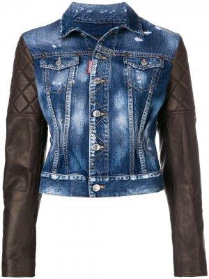 Джинсовая куртка с кожаными рукавами Dsquared2. Цвет: синий