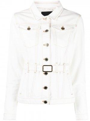 Джинсовая куртка с поясом Pinko. Цвет: белый