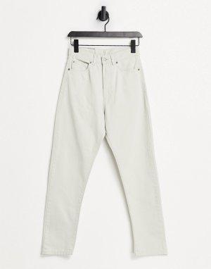 Светло-бежевые джинсы в винтажном стиле с завышенной талией Shift Workers-Белый Dr Denim