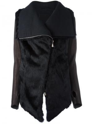 Меховая куртка с объемным воротником 10Sei0otto. Цвет: чёрный