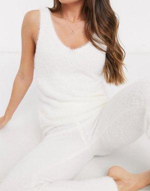 Пушистая майка кремового цвета от комплекта -Кремовый New Look