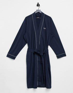 Темно-синий халат кимоно с логотипом BOSS Bodywear