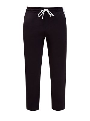 Спортивные брюки с лампасами из мембраны BIKKEMBERGS. Цвет: черный