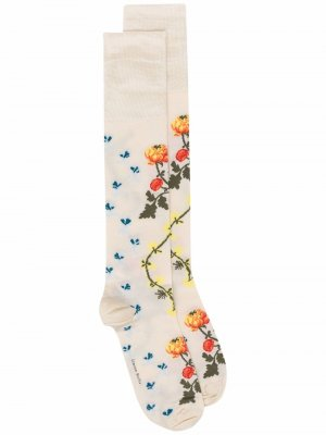 Жаккардовые гольфы с цветочным узором Simone Rocha. Цвет: нейтральные цвета