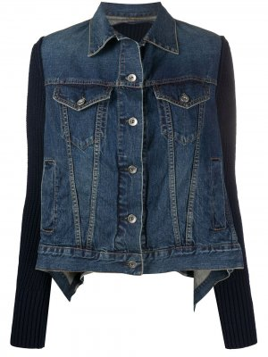Джинсовая куртка с драпировкой Sacai. Цвет: синий