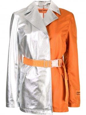 Двухцветное пальто Heron Preston. Цвет: оранжевый