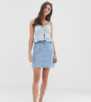 Синяя джинсовая мини-юбка на пуговицах с узким поясом ASOS DESIGN Tall-Синий Tall