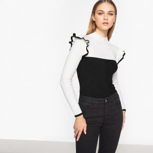 Пуловер двухцветный с воротником-стойкой и воланами LA REDOUTE COLLECTIONS. Цвет: экрю/парма