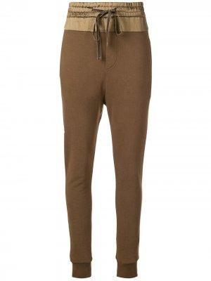 Drawstring track pants Ann Demeulemeester. Цвет: зеленый