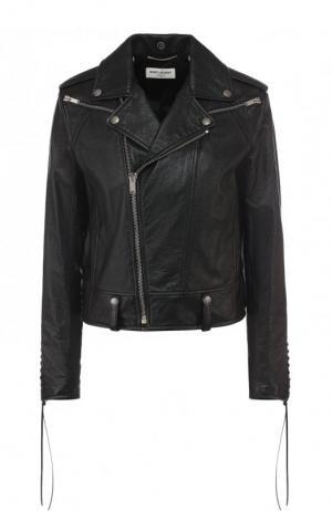 Однотонная кожаная куртка с косой молнией Saint Laurent. Цвет: черный