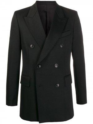 Двубортный пиджак AMI Paris. Цвет: черный
