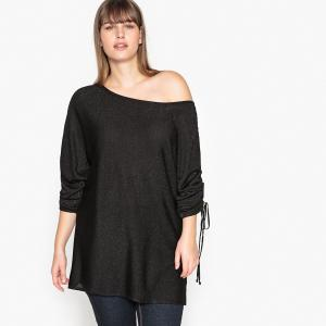 Пуловер с вырезом-лодочкой из тонкого трикотажа CASTALUNA. Цвет: черный