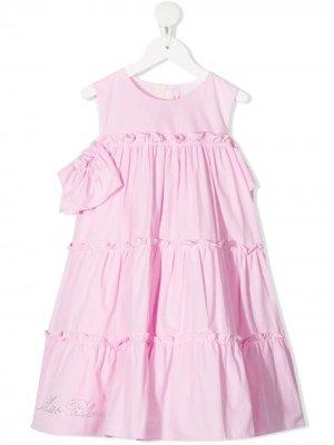 Ярусное платье без рукавов Miss Blumarine. Цвет: розовый