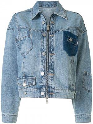 Прямые джинсы в технике пэчворк PortsPURE. Цвет: синий