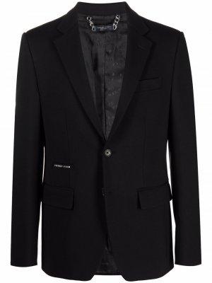 Однобортный пиджак с логотипом Philipp Plein. Цвет: черный