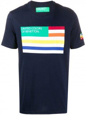 Футболка с принтом Benetton. Цвет: синий