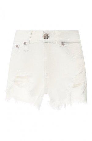 Джинсовые мини-шорты с потертостями R13. Цвет: белый