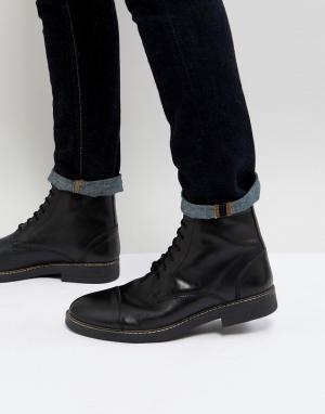 Черные блестящие ботинки в стиле милитари на шнуровке Frank Wright. Цвет: черный