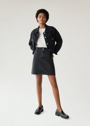 Джинсовая мини-юбка с пуговицами - Paperbag Mango. Цвет: черный деним