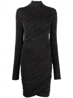 Платье мини в горох со сборками Rag & Bone. Цвет: черный