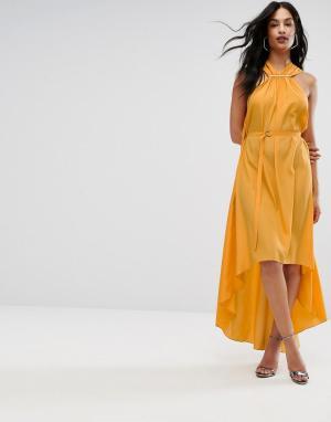 Платье-халтер макси с отделкой AQ/AQ-Желтый AQ