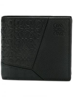 Бумажник с тиснением логотипов Loewe. Цвет: черный