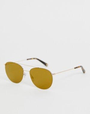 Золотистые круглые солнцезащитные очки -Золотой Ted Baker