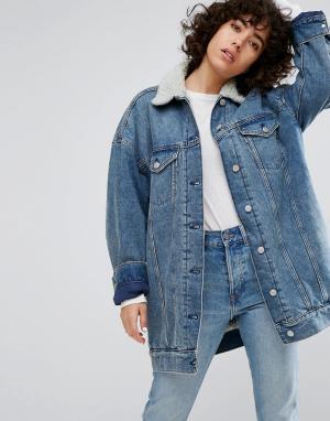 Удлиненная джинсовая куртка с подкладкой из искусственного меха -Синий Weekday