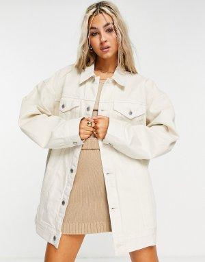 Светло-бежевая джинсовая oversized-куртка из органического хлопка Giga-Белый Weekday