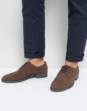 Коричневые ботинки из вощеной кожи на шнуровке -Коричневый Frank Wright