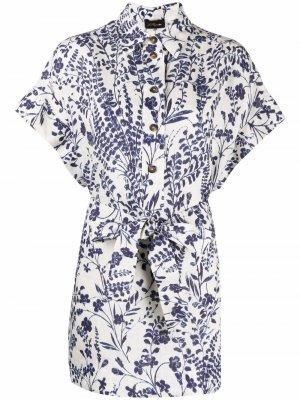 Блузка с цветочным принтом и поясом Les Copains. Цвет: белый