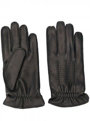 Кожаные перчатки с декоративной строчкой Orciani. Цвет: черный