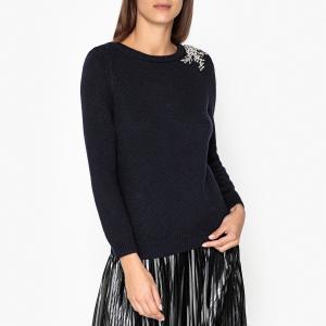 Пуловер с вырезом-лодочка из тонкого трикотажа OUREA BA&SH. Цвет: темно-синий