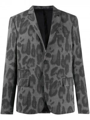 Поплиновый пиджак с леопардовым принтом Stella McCartney. Цвет: серый