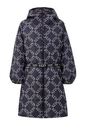 Утепленная куртка с капюшоном и поясом VALENTINO. Цвет: синий