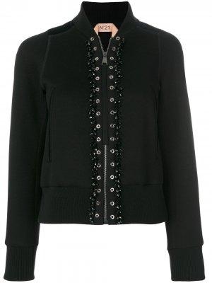 Куртка-бомбер с люверсами Nº21. Цвет: черный