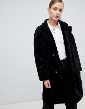 Пальто с двубортным эффектом Jayley. Цвет: черный