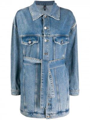 Длинная джинсовая куртка с поясом LIU JO. Цвет: синий