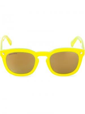 Солнцезащитные очки с широкой оправой Dsquared2. Цвет: жёлтый и оранжевый